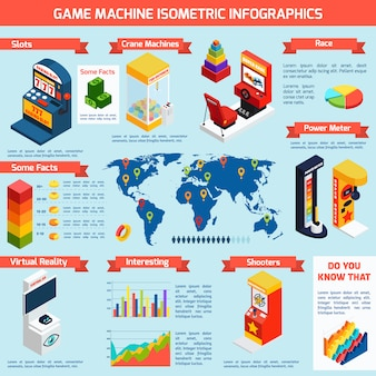 Juego de máquinas de entretenimiento isométrica infografía banner