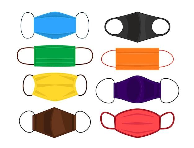 Un juego de mascarillas faciales reutilizables hechas de tela.