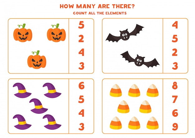 Juego de matemáticas con elementos de halloween de dibujos animados espeluznantes.