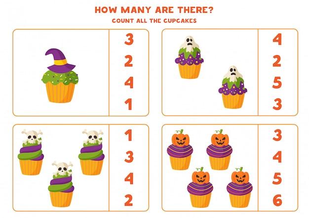 Juego de matemáticas con muffins de halloween de dibujos animados espeluznantes.