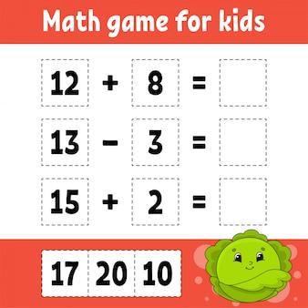 Juego de matemáticas para niños. hoja de trabajo de desarrollo educativo. página de actividades con fotos.
