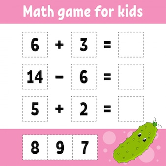 Juego de matemáticas para niños. hoja de trabajo de desarrollo educativo.