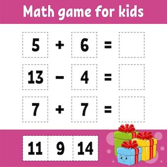 Juego de matemáticas para niños ilustración