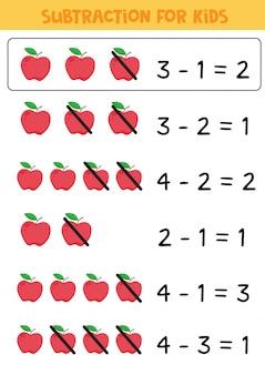 Juego de matemáticas para niños. resta con manzanas rojas.
