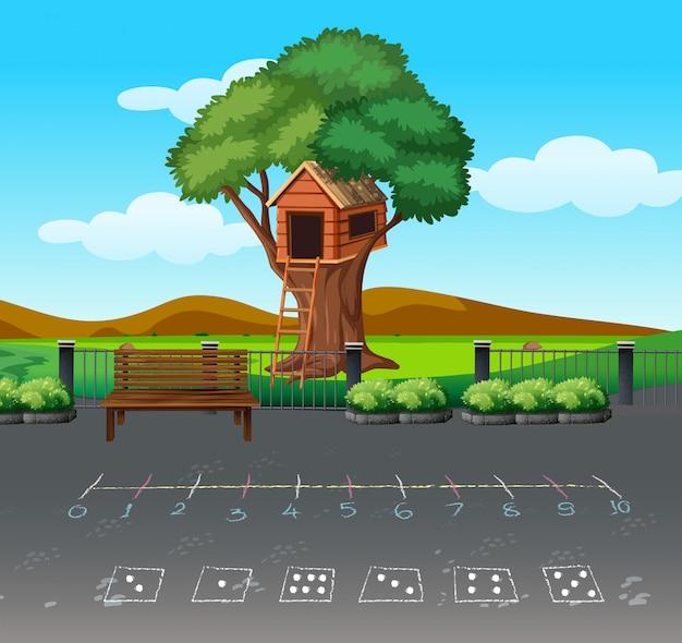 Juego de matemáticas en el paisaje de playgound