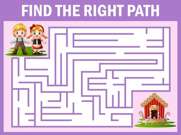 El juego maze encuentra el camino de hansel y gretel a la casa de los dulces.