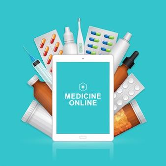 Juego de medicina y atención médica en línea con botellas de pastillas.