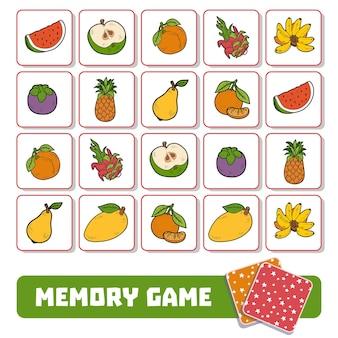 Juego de memoria para niños en edad preescolar, tarjetas vectoriales con frutas.