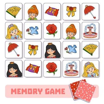 Juego de memoria para niños en edad preescolar, tarjetas vectoriales con princesa y elementos.