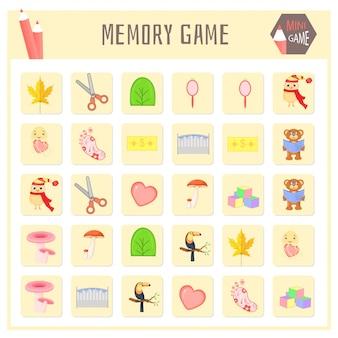 Juego de memoria para niños, gráficos vectoriales de mapas de animales