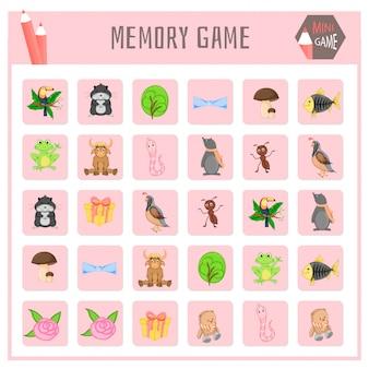Juego de memoria para niños, mapas de animales.