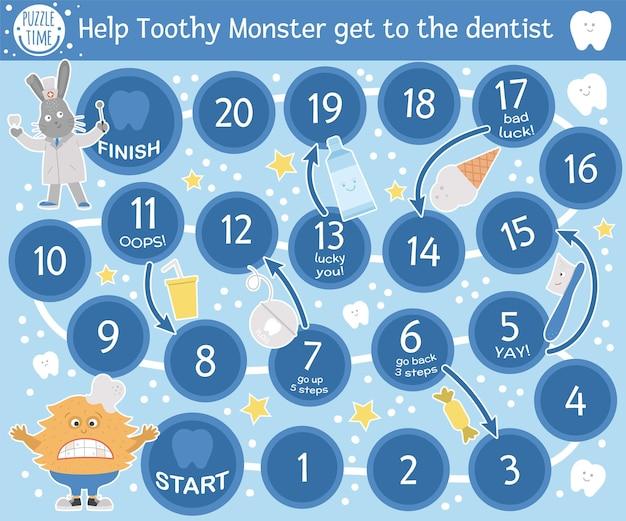 Juego de mesa de aventuras dentales para niños con simpáticos personajes. juego de mesa educativo sobre medicina dental. actividad de cuidado de los dientes. hoja de trabajo de aprendizaje de higiene bucal. ayuda al monstruo dentudo a llegar al dentista.