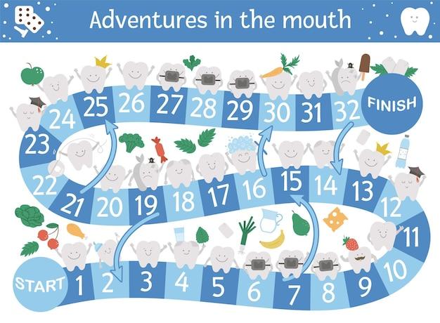Juego de mesa de aventuras dentales para niños con simpáticos personajes. juego de mesa educativo sobre medicina dental. actividad de cuidado de los dientes. hoja de trabajo de aprendizaje de higiene bucal.