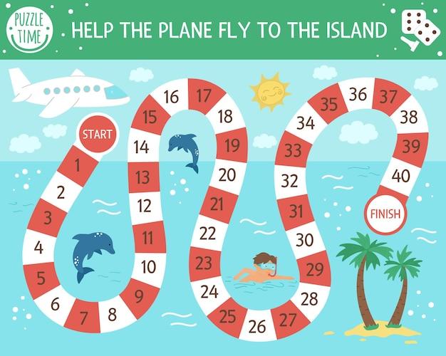 Juego de mesa de aventuras de verano para niños con avión.