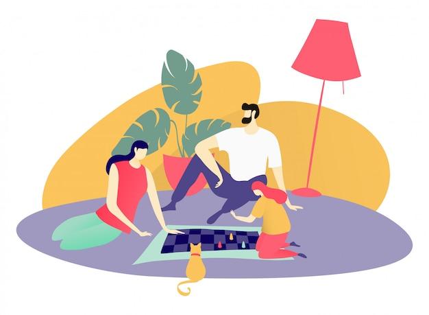 Juego de mesa familiar, personaje padre madre e hija pasan tiempo de diversión juntos en blanco, ilustración.