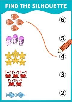 Juego de mesa infantil para preescolares y alumnos de primaria. vida submarina y animales marinos.