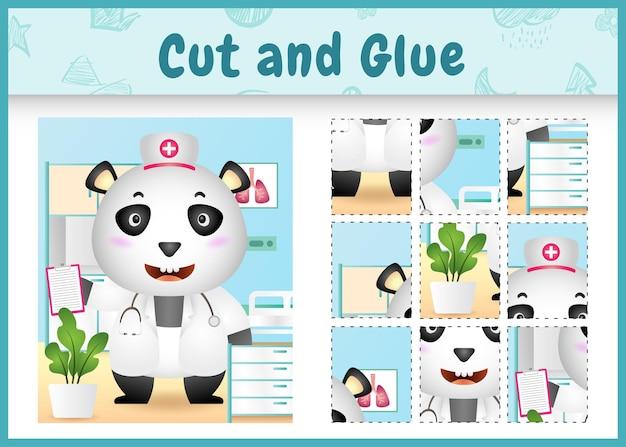 Juego de mesa para niños corta y pega con un lindo panda usando enfermeras disfrazadas