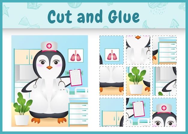 Juego de mesa para niños corta y pega con un lindo pingüino usando enfermeras disfrazadas