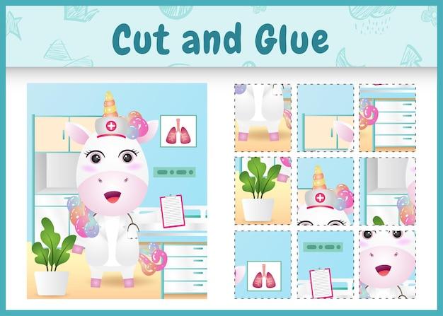 Juego de mesa para niños corta y pega con un lindo unicornio usando enfermeras disfrazadas