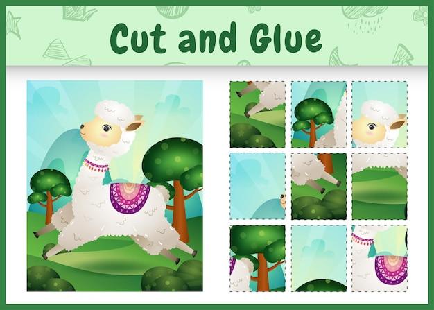 Juego de mesa para niños cortar y pegar con una linda alpaca
