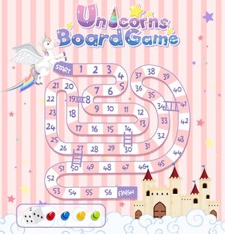 Juego de mesa para niños en plantilla de estilo unicornio color pastel