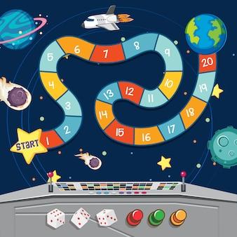 Juego de mesa con tierra y planetas en el espacio
