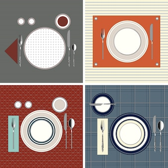 Juego de mesas servidas