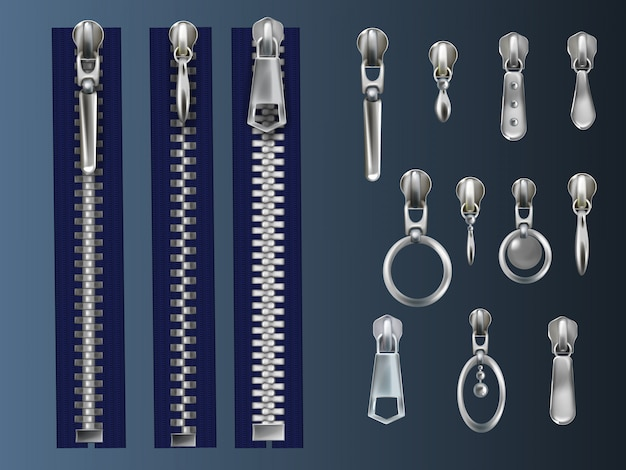 Juego de metal, cremalleras cerradas en cinta de tela azul y tiradores de acero con varios ojales
