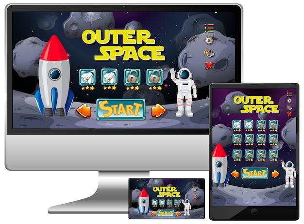 Juego de misión al espacio exterior en diferentes pantallas electrónicas
