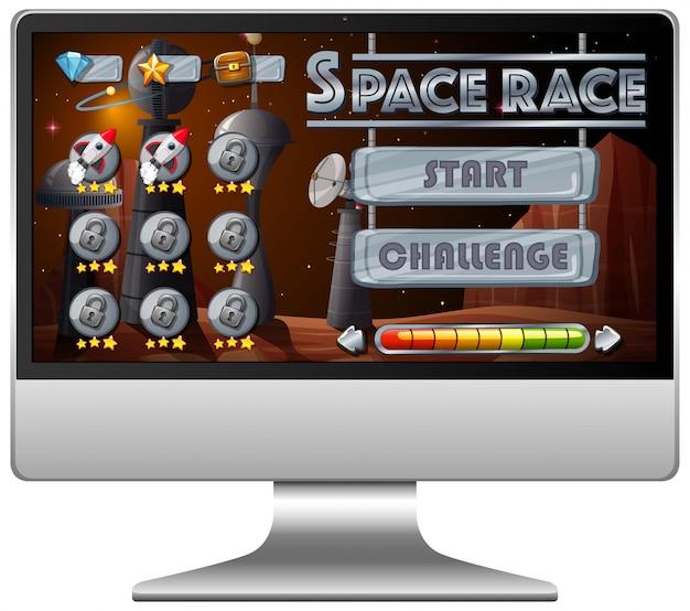 Juego de misión de carrera espacial en la pantalla de la computadora