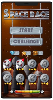 Juego de misión de carrera espacial en la pantalla del teléfono inteligente