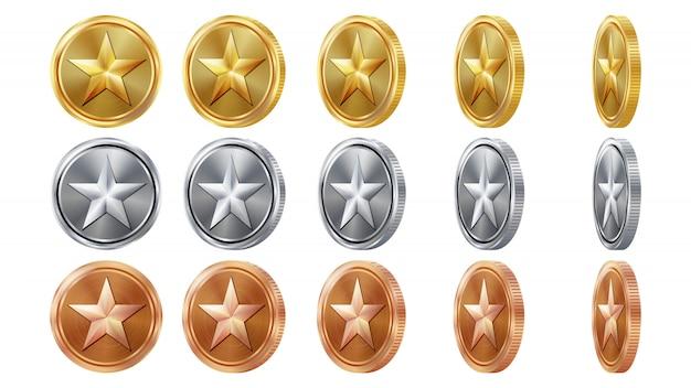 Juego de monedas de oro, plata y bronce en 3d
