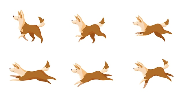 Juego de movimientos de perros rápidos o lentos