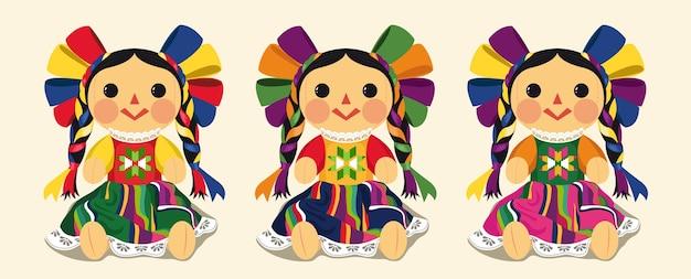 Juego de muñecas maria tradicional mexicana