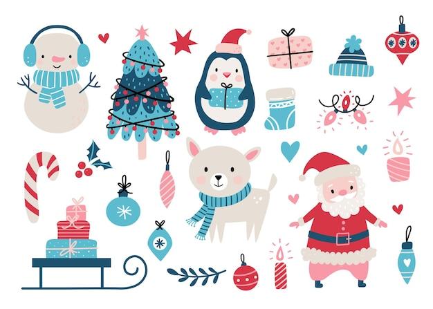 El juego de navidad incluye animales. Vector Premium
