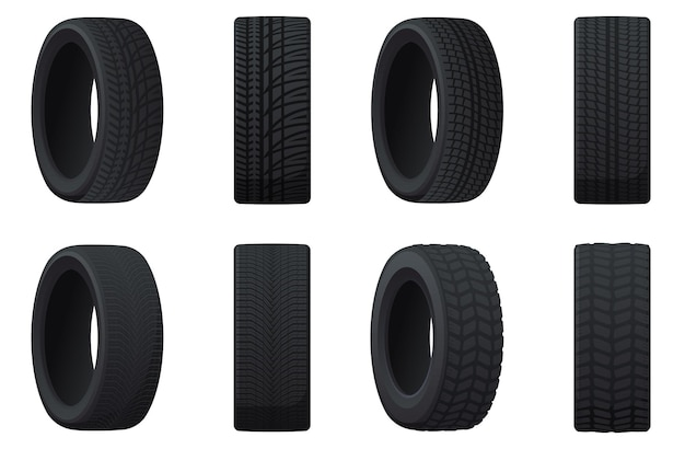 Juego de neumáticos de coche con diferentes bandas de rodadura. neumáticos de verano, invierno, todoterreno.