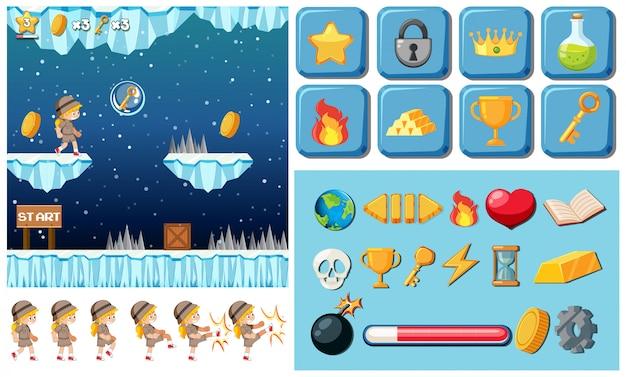 Un juego de niña elementos de ilustración.