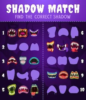 Juego de niños partido de sombras con bocas de monstruos, acertijo