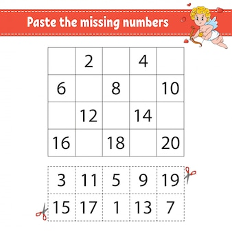 Juego para niños. práctica de escritura a mano. aprendizaje de números para niños.