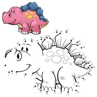 Juego para niños punto a punto dinosaurio