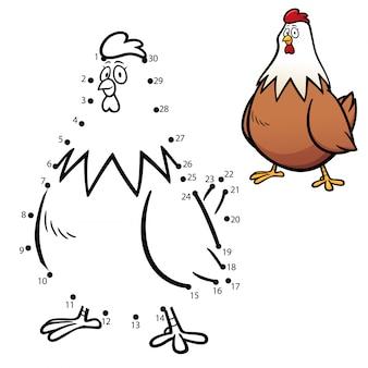 Juego de niños punto a punto gallina