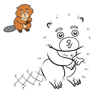 Juego de números, juego de educación punto a punto para niños, beaver