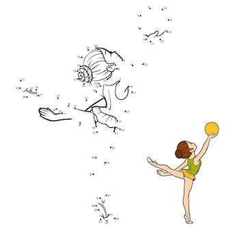 Juego de números, juego de educación punto a punto para niños, el gimnasta con una pelota