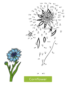 Juego de números, juego educativo de punto a punto para niños, flor de aciano