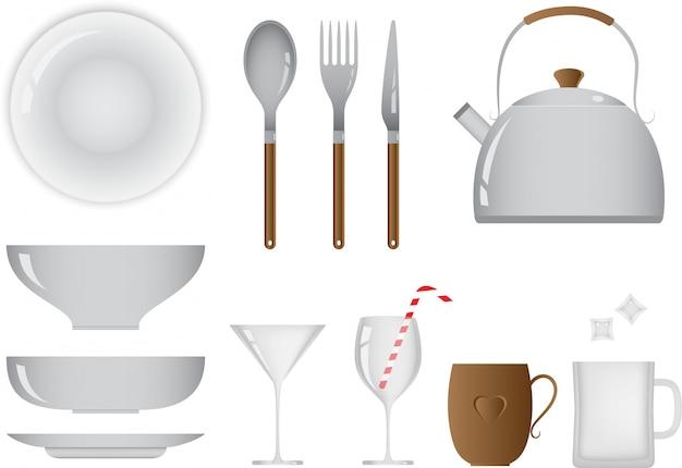 Juego de objetos de cocina y comedor cotidianos