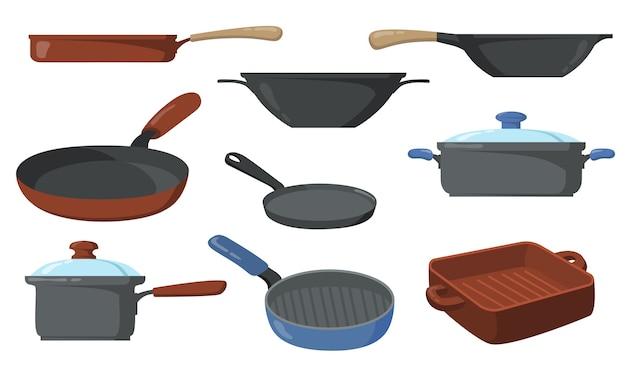 Juego de ollas de cocina. sartenes y cacerolas, sartén con asa y wok.