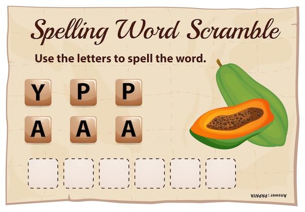 Juego de ortografía word scramble con palabra papaya