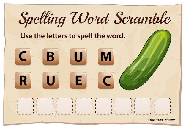 Juego de ortografía word scramble con pepino de palabra