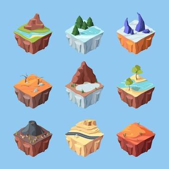 Juego de paisajes isométricos de isla.