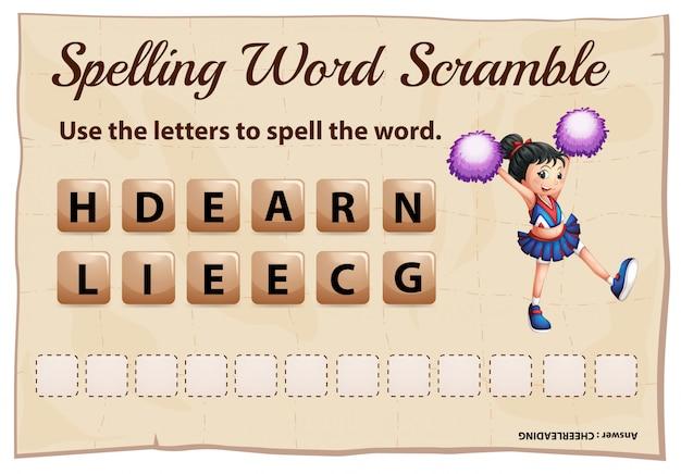 Juego de palabras de ortografía con porristas de palabras